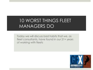 10 WORST THINGS FLEET MANAGERS DO