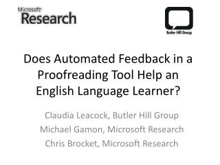 Does Automated Feedback in a Proofreading Tool Help an English Language Learner?