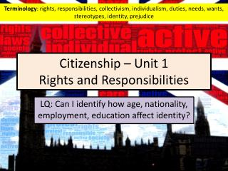 Citizenship – Unit 1  Rights and Responsibilities