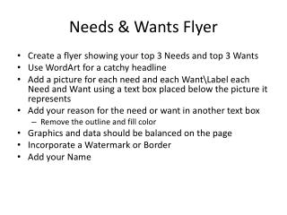 Needs & Wants Flyer