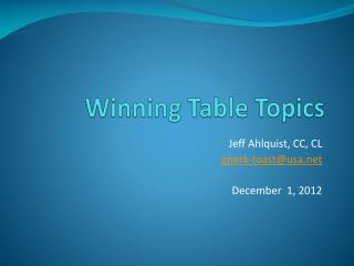 Winning Table Topics