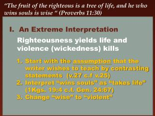 """The Fruit of the Righteous"