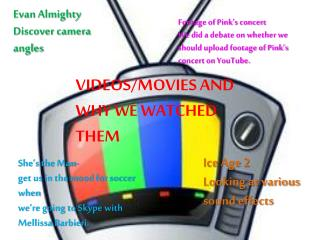 VIDEOS/MOVIES AND WHY WE WATCHED THEM