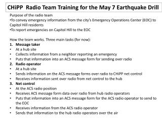 CHiPP   Radio Team Training for the May 7 Earthquake Drill