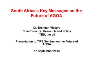 South Africa's Key Messages on the Future of AGOA