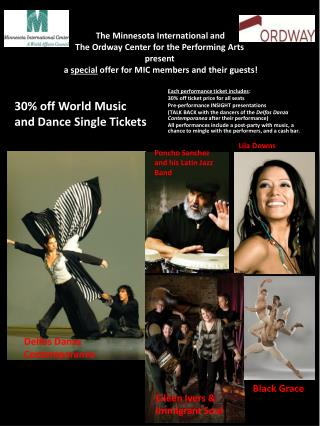 30% off World Music and  Dance Single Tickets