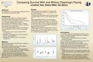 Comparing Survival With and Without Diaphragm Pacing Jonathan Katz, Robert Miller, Dan Moore