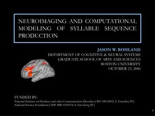 NEUROIMAGING AND COMPUTATIONAL MODELING OF SYLLABLE SEQUENCE PRODUCTION
