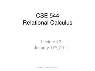 CSE 544 Relational Calculus