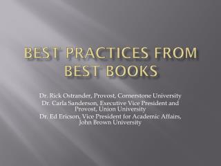 Best Practices from Best Books