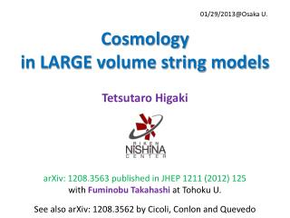 Cosmology  in LARGE volume string models