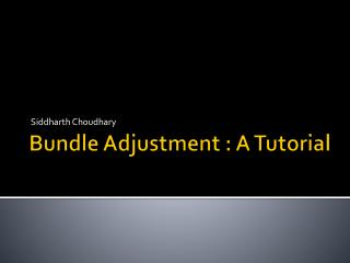 Bundle Adjustment : A Tutorial