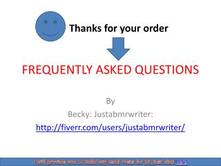 FAQ on BMR Fiverr order