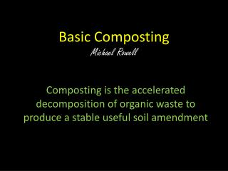 Basic  Composting Michael Rowell