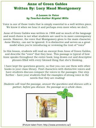 Anne of Green Gables Written By : Lucy Maud Montgomery A  Lesson in  Voice