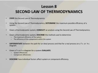 Lesson 8 SECOND LAW OF THERMODYNAMICS