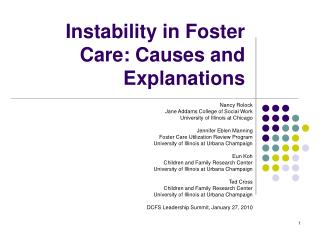 Instability in Foster Care: Causes and Explanations
