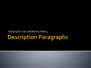 Description Paragraphs