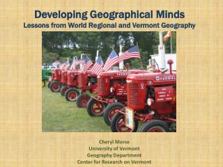 Developing Geographical Minds Lessons from World Regional and Vermont Geography