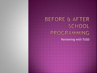 Before & After School Programming