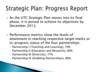 Strategic Plan: Progress Report