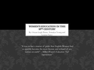 Women's  Education in the 18 th  Century