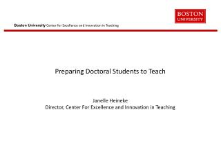 BU Doctoral Programs:  Primary Goal