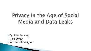 Privacy in the Age of Social Media and Data Leaks