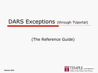 DARS Exceptions  (through TUportal)