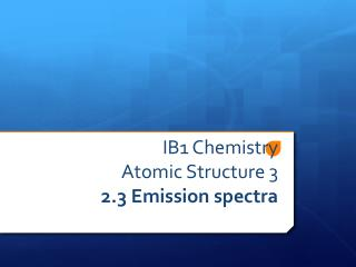 IB1 Chemistry Atomic Structure 3 2.3 Emission spectra