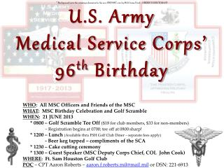 U.S. Army Medical Service Corps' 96 th  Birthday