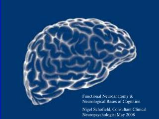 Functional Neuroanatomy & Neurological Bases of Cognition Nigel Schofield, Consultant Clinical Neuropsychologist May