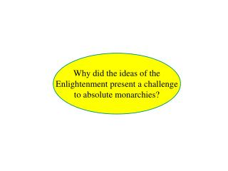 Why did the ideas of the Enlightenment present a challenge to absolute monarchies?