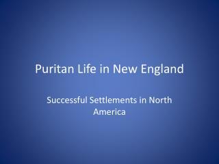 Puritan Life in New England