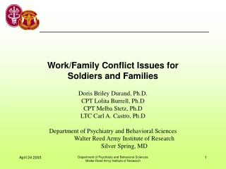 Work/Family Conflict Issues for Soldiers and Families