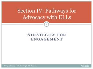 Section IV: Pathways for Advocacy with ELLs