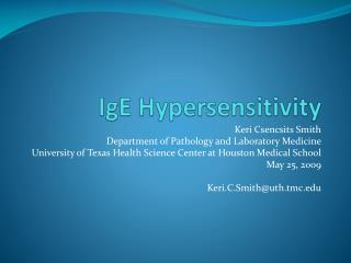 IgE  Hypersensitivity