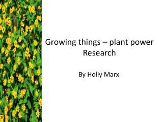 Growing things – plant power Research