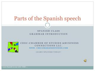 Parts of the Spanish speech