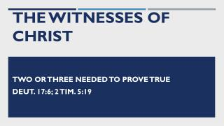 The Witnesses of Christ