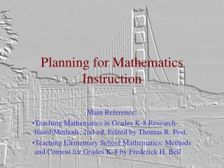 Planning for Mathematics Instruction