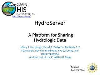 HydroServer A Platform for Sharing Hydrologic Data