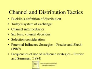 Channel and Distribution Tactics