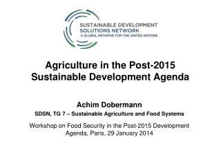 Agriculture in the Post-2015 Sustainable Development Agenda