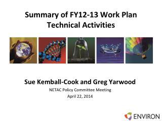 Summary of FY12-13 Work Plan Technical Activities