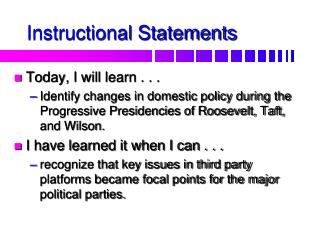 Instructional Statements
