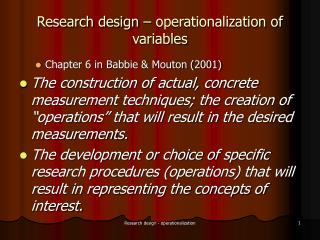 Research design – operationalization of variables