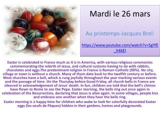 Mardi le 26 mars Au  printemps -Jacques  Brel : https://youtube/watch?v=SgYfE_h4kEI
