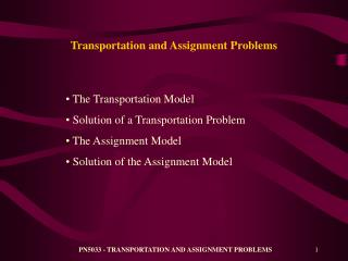 Transportation and Assignment Problems