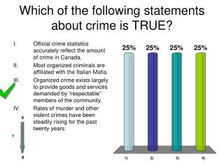 Which of the following statements about crime is TRUE?